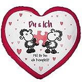 Die Geschenkewelt Sheepworld 45328 kleines Herz, Plüsch-Zierkissen, 25 cm x 25 cm Kissen, 100% Polyester, Rot, Weiß