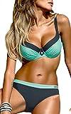 OLIPHEE Damen Tribal Bikini Set mit Bügel Brasilianische Gepolstert Bademode große größen Blau 2XL