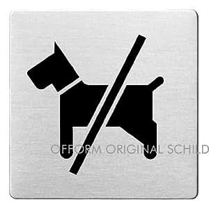 """OFFORM Plaque de porte en acier inox brossé, pictogramme """"Chiens interdits"""", 85x85 mm No.48115"""