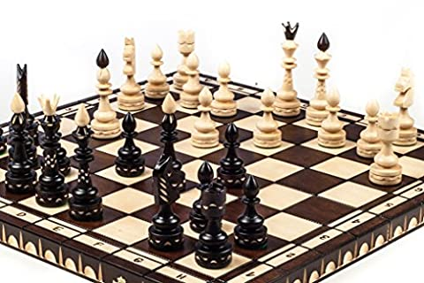 Brand New Large Luxury Indian Hand Carved Wooden Chess Set