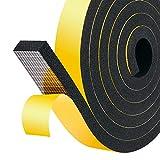 Nastro spugnoso autoadesivo spesso 25mm (W) x 10mm (T) x 4M (L) per porte e finestre Draft Excluder Nastro isolante per isolamento acustico, 2 pezzi
