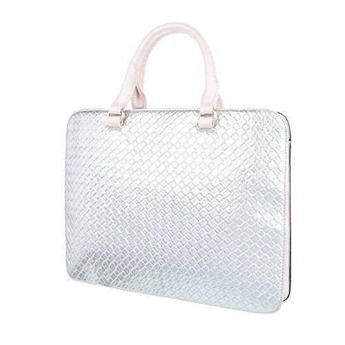 iTal-dEsiGn Damentasche Mittelgroße Schultertasche Handtasche Kunstleder TA-A179 Silber