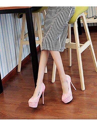 WSS 2016 Chaussures Femme-Habillé / Décontracté-Rose / Blanc / Argent / Corail-Talon Aiguille-Talons / Bout Arrondi-Talons-Paillette / Polyuréthane silver-us7.5 / eu38 / uk5.5 / cn38