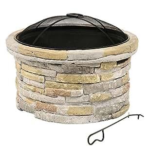bras ro big beech en pierre artificielle 53 x 53 x 38 cm foyer de terrasse four de terrasse. Black Bedroom Furniture Sets. Home Design Ideas