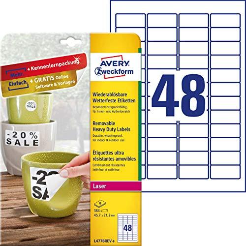 AVERY Zweckform L4778REV-8 Wetterfeste Folien-Etiketten, wiederablösbar (45,7x21,2 mm auf DIN A4, selbstklebend, bedruckbare Outdoor Klebefolie) 384 Aufkleber auf 8 Blatt weiß (Folie-etiketten)