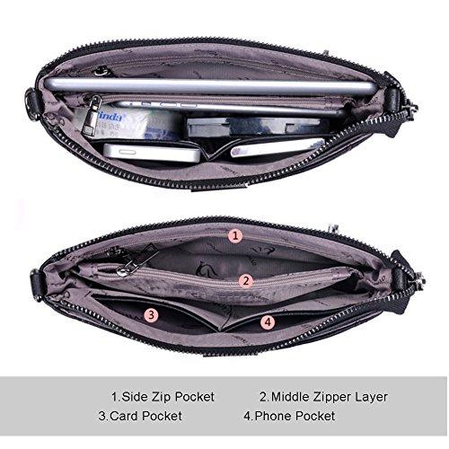 Sacchetti di flap morbido multistrato di Yoome di grande capacità per le donne Sacchetti di cinghia Borsa con borsa del messaggero - Navy Viola
