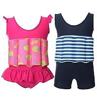 Baiyouli Children One Piece Buoyant Swimsuit Buoyancy Bathing Suit Float Suit Swimwear for Baby Kids Girls 1-9 Years