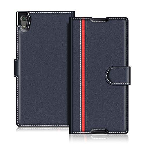 COODIO Handyhülle für Sony Xperia XA1 Handy Hülle, Sony Xperia XA1 Hülle Leder Handytasche für Sony Xperia XA1 Klapphülle Tasche, Dunkel Blau/Rot