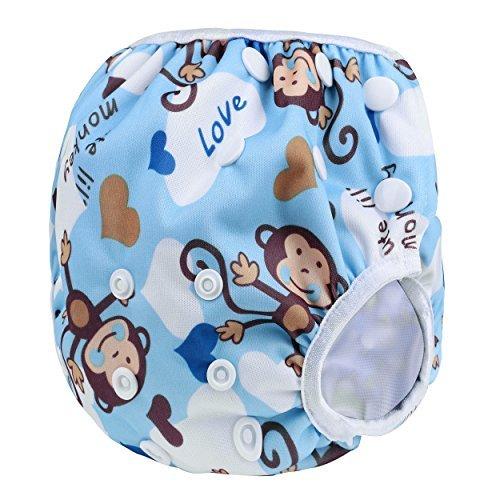 Sijueam Schwimmwindel Waschbar Mehrwegwindeln Baby Diapers Wasserdicht Windelhosen Unisex Einheitsgröße Einstellbar Badeshorts Leakproof Wassersport Bademode – Blue Monkey - 6