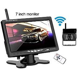 Caméra de Recul sans Fil Kit 7 Pouces HD TFT LCD Moniteur Signal Amélioré 2.4G/IP67 étanche/Vision Nocturne de 18pcs LED,pour Camion Remorque RV Bus Camping-Car