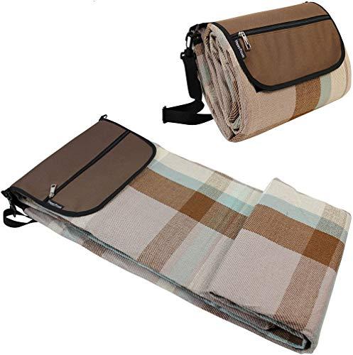 HappyPicnic Picknickdecke | Extra große Outdoor-Decken 87 Zoll x 67 Zoll mit wasserdichter Schicht für Picknick-Camping | Sand Proof-Matte mit verstellbarem Schultergurt-Braun MEHRWEG