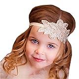 Bandeau Cheveux Enfant de Fleur à Strasse Turban Bébé Elastique à Feuille Accessoire Cheveux pour Photographie Petite Fille