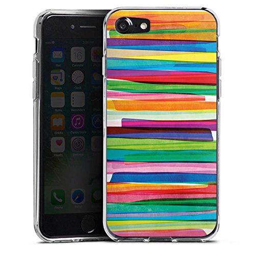 Apple iPhone 7 Tasche Hülle Flip Case Streifen Wasserfarbe Bunt Silikon Case transparent