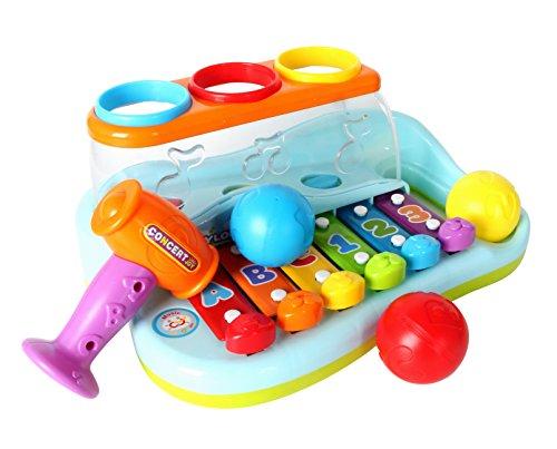 GoStock Baby Musical Spielzeug Kunststoff Regenbogen Xylophon Musikinstrument mit Kugeln und Hammer für Kinder, Jungen Musikspielzeug und Mädchen ab 1, 2, 3 - Baby-spielzeug-musikinstrumente