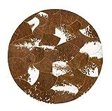 WSX Z Rindsleder Teppich   Runde Teppiche für Schlafzimmer   Großer Handnähender Naturleder Teppich - Braun (größe : Diameter150cm)