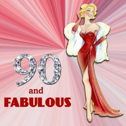 90 and Fabulous: Retro Blonde Bombshell Design 90th Birthday Guest Book for Women - Red & Diamond Sign In Book - Vintage Style Ninetieth Bday Party ... Name and Address - Square Size  8.25 x 8.25