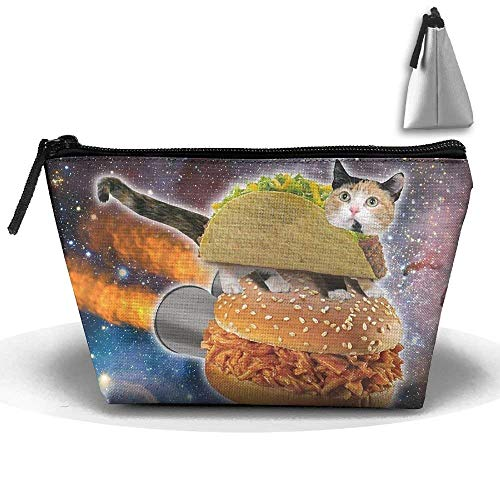 Cool Space Taco Cat Cosmetic Tote Bag Carry Case - Large Trapezoidal Storage Pouch - Travel Accessories Portable Make-up Bag -