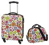Kombi-Set Koffer Reisekoffer Bordtrolley + Beauty-Case FLOWER