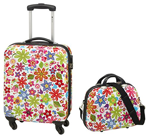 Kombi-Set Koffer Reisekoffer Bordtrolley + Beauty-Case FLOWER