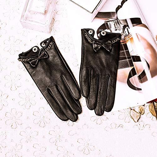 Agelec Damen Lederhandschuhe Winter Lederhandschuhe Butterfly Driving Touchscreen Handschuhe Wildleder Handschuh Damen Leder (Color : Thin Silk Lining, Größe : M)