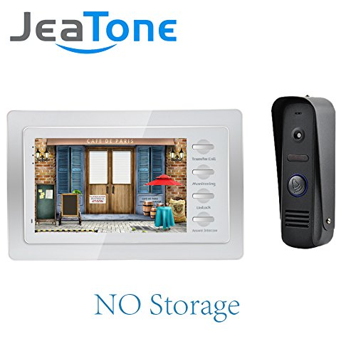 """Jeatone Newest 7"""" LCD Monitor Wired Video Intercom for Home Security System Video Door Phone Doorbell Intercom Kit Unlocking, Monitoring and Intercom By Indoor Monitor"""