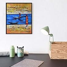 Raybre Art® 50 x 60 cm 100% Dipinto a mano - Quadro vintage Quadro su Tela Dipinti ad olio - Etnici dipinti Retro Quadri Astratti - senza cornice - per la decorazione domestica parete (Canottaggio)