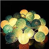 JIANUO SHIYE 3 m 20 LED Kunststoff Baumwolle Kugel/Baumwolle Ball Batterie Box Lichterkette Weihnachten Dekoration Laterne (1 Stück) (Peppermint Candy Farbe)