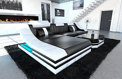 Luxus Sofa TURINO L-Form schwarz-weiss - 2