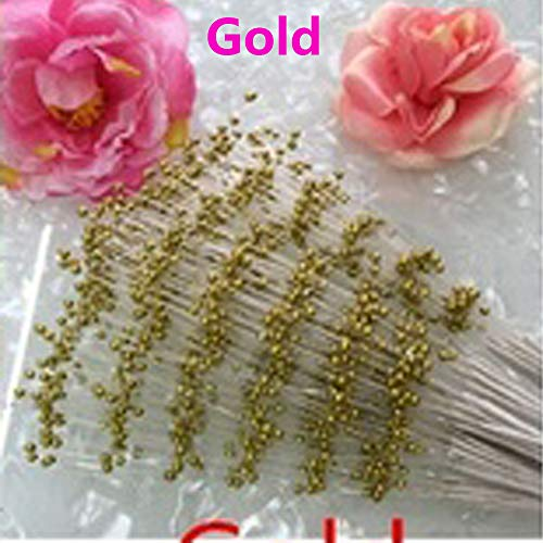 10pcs New Wedding Decoration Party Supplies Bridal Flower Bouquet Tulle Crystal Bling Diamond Beads Chain Garland Artificial Pearls(10pcs/Pack+Gold)