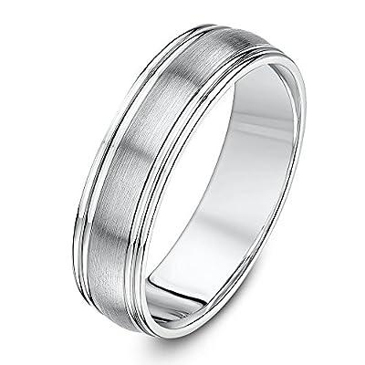 Theia Palladium 500 Matt Center Polished Groove 6mm Wedding Ring