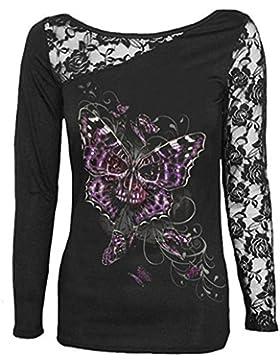 YMYY-Kleider Mujeres del Cordón Que Imprime La Camiseta Tee Tops Camisas Estilo Punky del Cráneo de La Impresión...