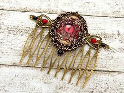 Peigne à cheveux Steampunk avec oeil de dragon en bronze brun rouge
