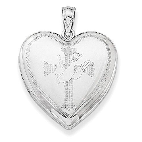Taube mit Kreuz, Sterling-Silber, Herz-Medaillon, mit Engelsbildchen