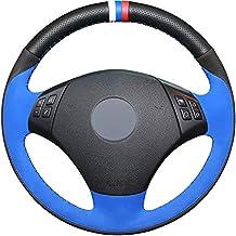 HCDSWSN Negro Cuero Genuino Azul Suede DIY Cubierta del Volante del Coche para BMW E90 320