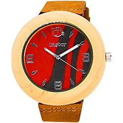 iBigboy Opa Holz Uhr mit Lederband und Quarzwerk für Opa Uhr