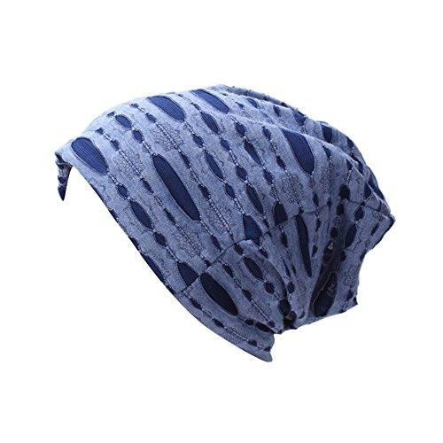 iShine Unisex Turban Elastisch Mütze Muslimin Kopftuch Herren Elegant Turban mit Stil Hip Hop Hut Frauen für Haarverlust Krebs Chimio Blau (Afrikanische Hüte Frauen Für)
