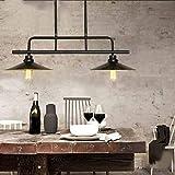 GDT Hängelampe, Umweltleuchter, Continental Billardtisch Retro Beleuchtung Kreative Eisen Doppelleuchter Bar Restaurant Leuchter Effizienz: A +++,Schwarz