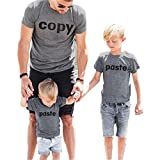 Copy and Paste T-Shirts Bluse Tops Sommer Matching Father Child Outfits T-Shirts Papa und Sohn Familie Passende Kleidung (Papa, L)