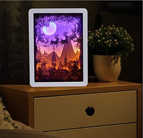 Weihnachten 3D Nachtlicht führte Illusion Nachtlicht, Schlafzimmer Schreibtischlampe, 3D Licht und Schatten Papier schnitzen Kunst und Kunsthandwerk, Geschenk führte visuelle Lichter, weißen Rahmen (Und Für Weihnachten Kunst Kunsthandwerk)
