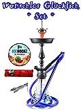 Amy Deluxe Sweet Harmony Klick: Edel-Shisha, Wasserpfeife, Geschenk-Set mit Bigg Ice Rockz und 44 Ring-Kohle, Farbe:Blau RS Schwarz