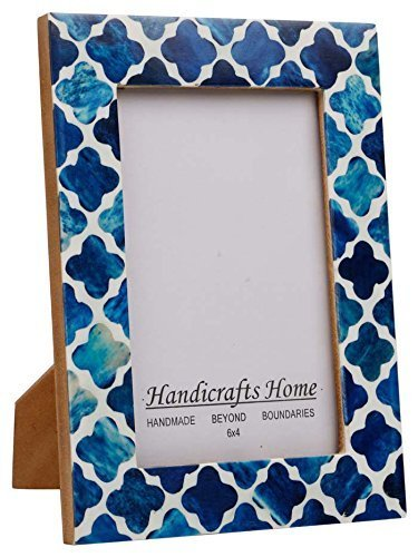 Handicrafts Home Picture Photo Frame Indigo Moorish Quatrefoil Mosaic Frames-Indigo-2