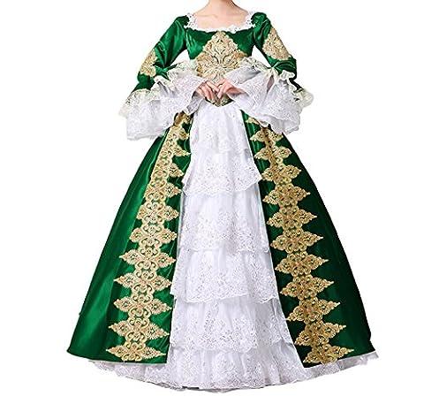 Nuoqi® Femmes Satin gothique victorien princesse robe Halloween Fancy Dress Cosplay Costume (Taille française 40, CC3032C-NI)