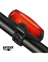 Luci Posteriori Bici LED USB - MOREZONE Ricaricabile Fanale Posteriore Bici, Luce Bicicletta 5 Modalità di Luce, Adatto per TUTTE le Biciclette (MTB, Moto da Strada) e Caschi