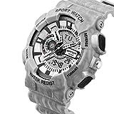 Outdoor Sportuhr, Yanhoo Multifunktions Nacht Foto Elektronische Uhr Chronograph Military Digital Wrist Professionelle Sport Tisch (Weiß)