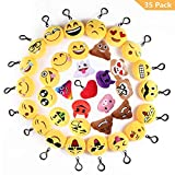 SKYE Lot de 35 Mini Emoji Porte-clés, 5cm Peluche Mignon Émoticône Emoji pour...