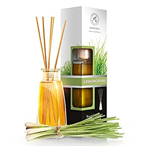 Lemongrass reed diffuser with natural essential lemongrass for Long lasting home fragrance
