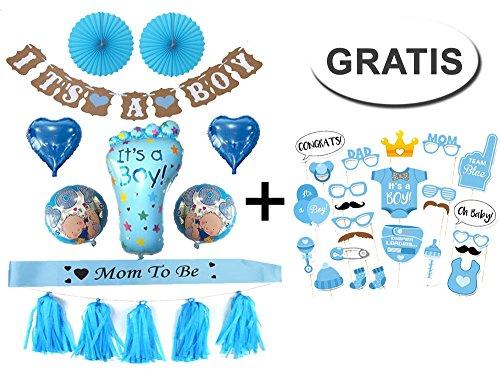 Generic Baby Shower Party Boy Dekoration Set + GRATIS Fotorequisiten