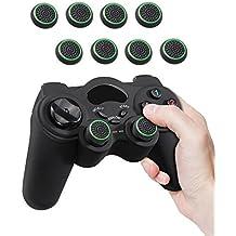 Fosmon (8 pacchi / 4 paia) Impugnature analogiche per joystick con joystick con stick analogico compatibile con PS4 | PS3 | Xbox ONE, ONE X, ONE S, 360 | Wii U - Nero / Verde