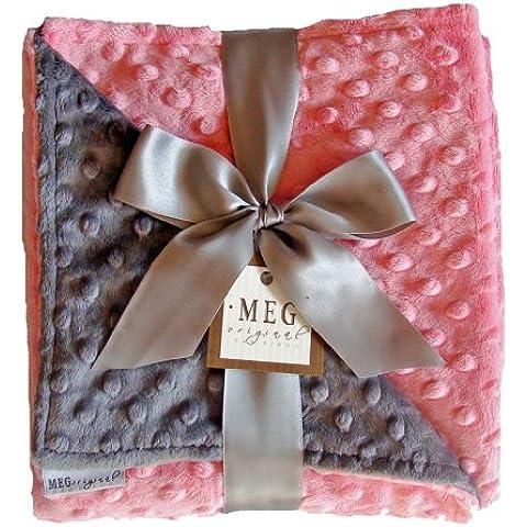 Meg originale Paris Rosa & carbone grigio Minky Dot Baby Girl coperta