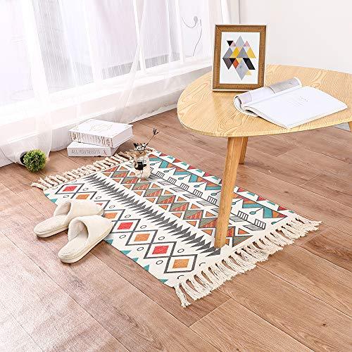 Home Deco Läufer Teppich Baumwolle Waschbar Handwebteppich 60x130cm Vintage Marokkanisches Muster Antirutschmatte Teppichunterlage für Wohnzimmer, Schlafzimmmer, Esszimmer